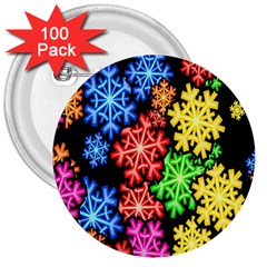 Colourful Snowflake Wallpaper Pattern 3  Buttons (100 pack)
