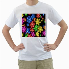 Colourful Snowflake Wallpaper Pattern Men s T-Shirt (White) (Two Sided)