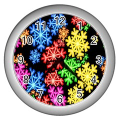 Colourful Snowflake Wallpaper Pattern Wall Clocks (Silver)