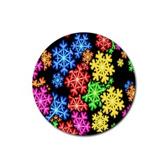Colourful Snowflake Wallpaper Pattern Rubber Round Coaster (4 pack)
