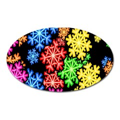 Colourful Snowflake Wallpaper Pattern Oval Magnet