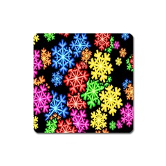 Colourful Snowflake Wallpaper Pattern Square Magnet