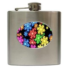 Colourful Snowflake Wallpaper Pattern Hip Flask (6 oz)