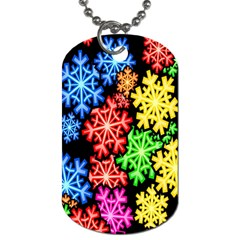 Colourful Snowflake Wallpaper Pattern Dog Tag (Two Sides)