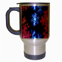 Colourful Snowflake Wallpaper Pattern Travel Mug (Silver Gray)