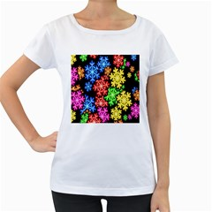 Colourful Snowflake Wallpaper Pattern Women s Loose-Fit T-Shirt (White)