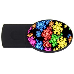 Colourful Snowflake Wallpaper Pattern Usb Flash Drive Oval (4 Gb)