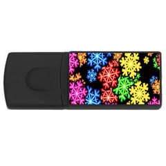 Colourful Snowflake Wallpaper Pattern USB Flash Drive Rectangular (4 GB)