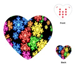 Colourful Snowflake Wallpaper Pattern Playing Cards (Heart)