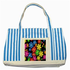 Colourful Snowflake Wallpaper Pattern Striped Blue Tote Bag