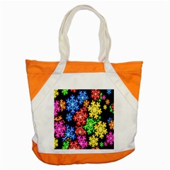Colourful Snowflake Wallpaper Pattern Accent Tote Bag