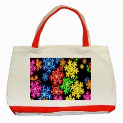 Colourful Snowflake Wallpaper Pattern Classic Tote Bag (red)