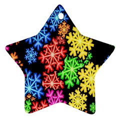 Colourful Snowflake Wallpaper Pattern Star Ornament (Two Sides)