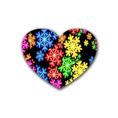 Colourful Snowflake Wallpaper Pattern Heart Coaster (4 pack)