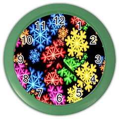 Colourful Snowflake Wallpaper Pattern Color Wall Clocks