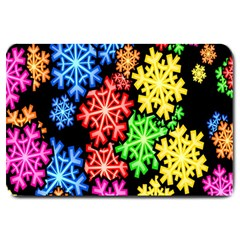 Colourful Snowflake Wallpaper Pattern Large Doormat