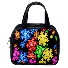 Colourful Snowflake Wallpaper Pattern Classic Handbags (One Side)