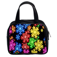 Colourful Snowflake Wallpaper Pattern Classic Handbags (2 Sides)