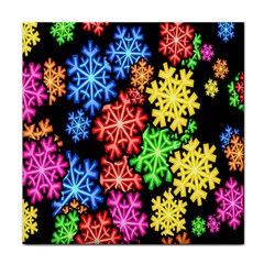 Colourful Snowflake Wallpaper Pattern Face Towel