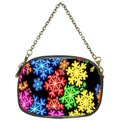 Colourful Snowflake Wallpaper Pattern Chain Purses (One Side)