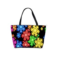 Colourful Snowflake Wallpaper Pattern Shoulder Handbags