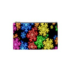 Colourful Snowflake Wallpaper Pattern Cosmetic Bag (Small)