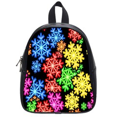 Colourful Snowflake Wallpaper Pattern School Bags (Small)
