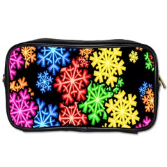 Colourful Snowflake Wallpaper Pattern Toiletries Bags 2-Side