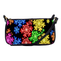 Colourful Snowflake Wallpaper Pattern Shoulder Clutch Bags
