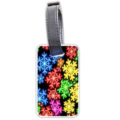 Colourful Snowflake Wallpaper Pattern Luggage Tags (Two Sides)