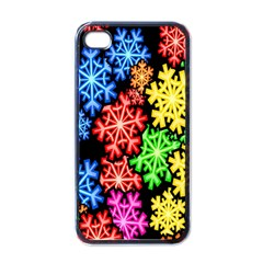 Colourful Snowflake Wallpaper Pattern Apple iPhone 4 Case (Black)