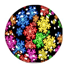 Colourful Snowflake Wallpaper Pattern Round Filigree Ornament (Two Sides)