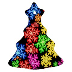 Colourful Snowflake Wallpaper Pattern Christmas Tree Ornament (Two Sides)