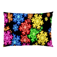 Colourful Snowflake Wallpaper Pattern Pillow Case (Two Sides)