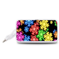 Colourful Snowflake Wallpaper Pattern Portable Speaker (White)