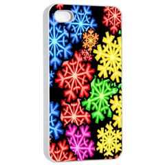Colourful Snowflake Wallpaper Pattern Apple Iphone 4/4s Seamless Case (white)