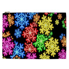 Colourful Snowflake Wallpaper Pattern Cosmetic Bag (xxl)