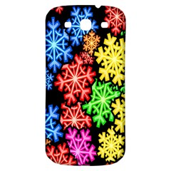Colourful Snowflake Wallpaper Pattern Samsung Galaxy S3 S III Classic Hardshell Back Case