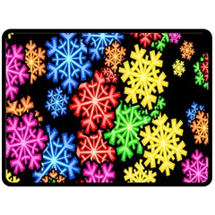 Colourful Snowflake Wallpaper Pattern Double Sided Fleece Blanket (large)