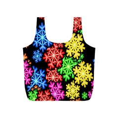 Colourful Snowflake Wallpaper Pattern Full Print Recycle Bags (s)