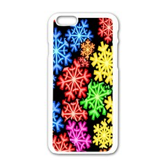 Colourful Snowflake Wallpaper Pattern Apple iPhone 6/6S White Enamel Case