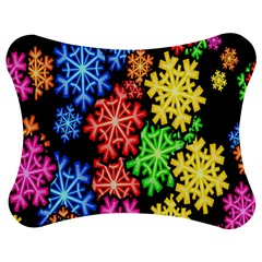 Colourful Snowflake Wallpaper Pattern Jigsaw Puzzle Photo Stand (Bow)
