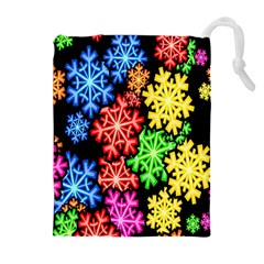 Colourful Snowflake Wallpaper Pattern Drawstring Pouches (extra Large)