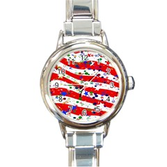 Confetti Star Parade Usa Lines Round Italian Charm Watch