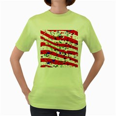 Confetti Star Parade Usa Lines Women s Green T-Shirt