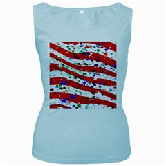 Confetti Star Parade Usa Lines Women s Baby Blue Tank Top
