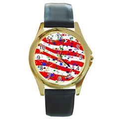Confetti Star Parade Usa Lines Round Gold Metal Watch