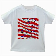 Confetti Star Parade Usa Lines Kids White T Shirts