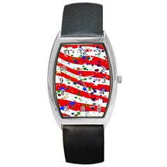 Confetti Star Parade Usa Lines Barrel Style Metal Watch