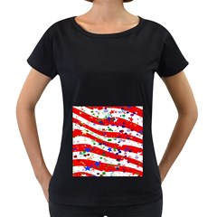 Confetti Star Parade Usa Lines Women s Loose-Fit T-Shirt (Black)